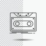 Kassett demonstration, rekord, band, rekord- linje symbol på genomskinlig bakgrund Svart symbolsvektorillustration royaltyfri illustrationer
