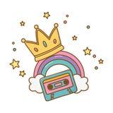 Kassett med kronan och regnbågen stock illustrationer