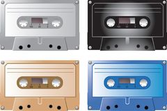 Kassettenbänder in den verschiedenen Farben Stockfotos