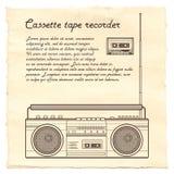 Kassettenrecorder auf Papierhintergrund Lizenzfreies Stockbild