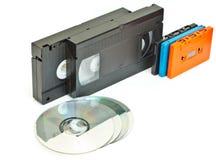 Kassettenvideo und -cd. Stockfoto