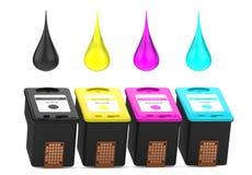 Kassetter för bläckstråleskrivare med CMYK-målarfärgdroppar Arkivbilder