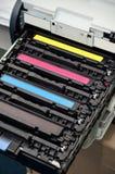 Kassetter för färglaserskrivarefärgpulver Royaltyfri Bild