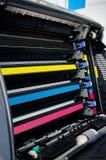 Kassetter för färglaserskrivarefärgpulver Arkivfoto