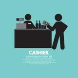 Kassierer-With Customer Graphic-Symbol Stockbild