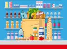 Kassiers tegenwerkplaats Supermarktbinnenland vector illustratie