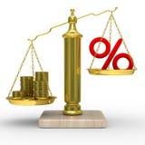 Kassiert und Prozente auf Gewichten Stockbild