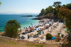 Kassiopi海滩,科孚岛海岛,希腊 图库摄影