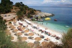 Kassiopi Beach, Corfu, Greece. A tidy beach on the beautiful island of Corfu royalty free stock photo