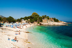 Kassiopi Beach, Corfu Island, Greece. Royalty Free Stock Photo