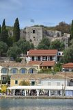 Kassiopi Castle and Harbour. Portrait photo of the castle and harbour in the village of Kassiopi, Corfu royalty free stock photo