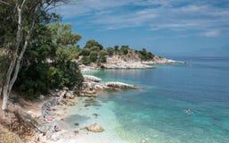 Kassiopi, Corfu. A beach just outside Kassiopi Corfu stock photos