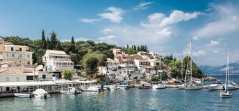 Kassiopi, Corfu. Picturesque shot of Kassiopi harbour Corfu royalty free stock image