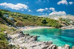 Kassiopi-Strand, Korfu-Insel, Griechenland stockfotografie
