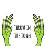 Kast i handduken Vektorillustration med händer som lyfts upp Hand dragen stil stock illustrationer