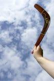 Kasta den målade bumerangen, lodlinje Royaltyfri Fotografi