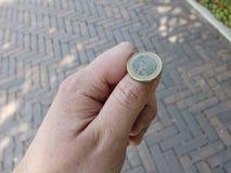 kasta för mynt arkivbild