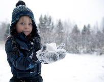 Kasta snöboll först Arkivfoto