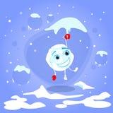 Kasta snöboll hängning på röda den roliga handsketecknade filmen för istappen stock illustrationer