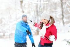 Kasta snöboll slagsmål Royaltyfri Bild
