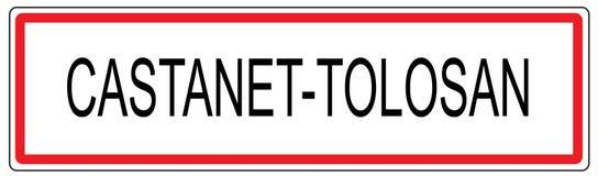 Kastagnette Tolosan-Stadt-Verkehrszeichenillustration in Frankreich Lizenzfreie Stockbilder