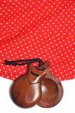 Kastagnetten und Flamencokleid Lizenzfreie Stockbilder