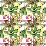 Kastanie lässt Muster in einer Aquarellart Lizenzfreies Stockfoto