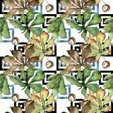 Kastanie lässt Muster in einer Aquarellart Stockfoto