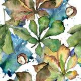 Kastanie lässt Muster in einer Aquarellart Stockfotografie