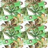 Kastanie lässt Muster in einer Aquarellart Stockfotos
