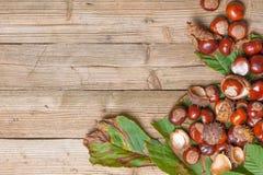 Kastanien auf einer Tabelle Stockfotos