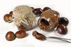 Kastanien und eine Schokoladencreme in den kleinen Gläsern lizenzfreie stockfotografie