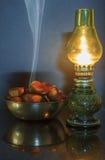 Kastanien und Lampe stockfoto