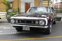 Kastanienbraunes und weißes Chevrolet Camaro ausgestellt in Lima lizenzfreie stockfotos