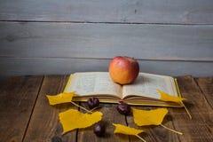 Kastanj för sidor för öppet bokäpple en gul på träbakgrund fotografering för bildbyråer