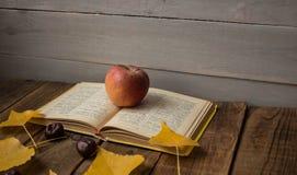 Kastanj för sidor för öppet bokäpple en gul på träbakgrund arkivfoto
