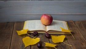 Kastanj för sidor för öppet bokäpple en gul på träbakgrund arkivbilder