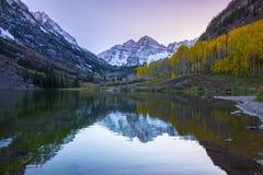 Kastanjebruine Klokkenzonsopgang Aspen Colorado Royalty-vrije Stock Fotografie