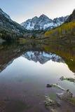 Kastanjebruine Klokkenzonsopgang Aspen Colorado Vertical Royalty-vrije Stock Foto's