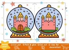Kastar snöboll pappers- hantverk för jul för barn, med en slott vektor illustrationer
