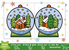 Kastar snöboll pappers- hantverk för jul för barn, med ett hus royaltyfri illustrationer