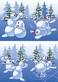 kastar snöboll snowmans Royaltyfri Fotografi