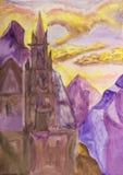 Kasteel in bergen, het schilderen Royalty-vrije Stock Afbeeldingen