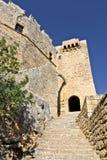 Kasteel bij het eiland van Rhodos in Griekenland stock afbeelding