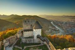 Kasteel Celje in Slovenië - de herfstbeeld stock afbeelding