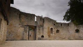 Kasteel Crevecoeur Engelse Auge buiten in Normandië Frankrijk stock videobeelden