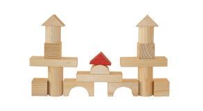 Kasteel dat door houten blokken wordt gemaakt Stock Foto