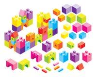 Kasteel dat met kubussen wordt gebouwd Stock Foto