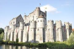 Kasteel in de oude stad van Gent, België royalty-vrije stock afbeelding