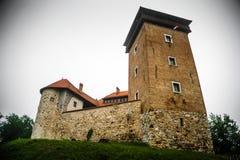 Kasteel in een de zomermist van Karlovac-stad stock foto